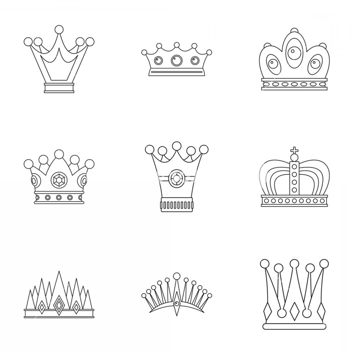 Crown White Outline Vector: Antique Crown Icon Set Outline Set Of Antique Crown Vector Icons For Web Isolated On White Background Sxcubcejkagge