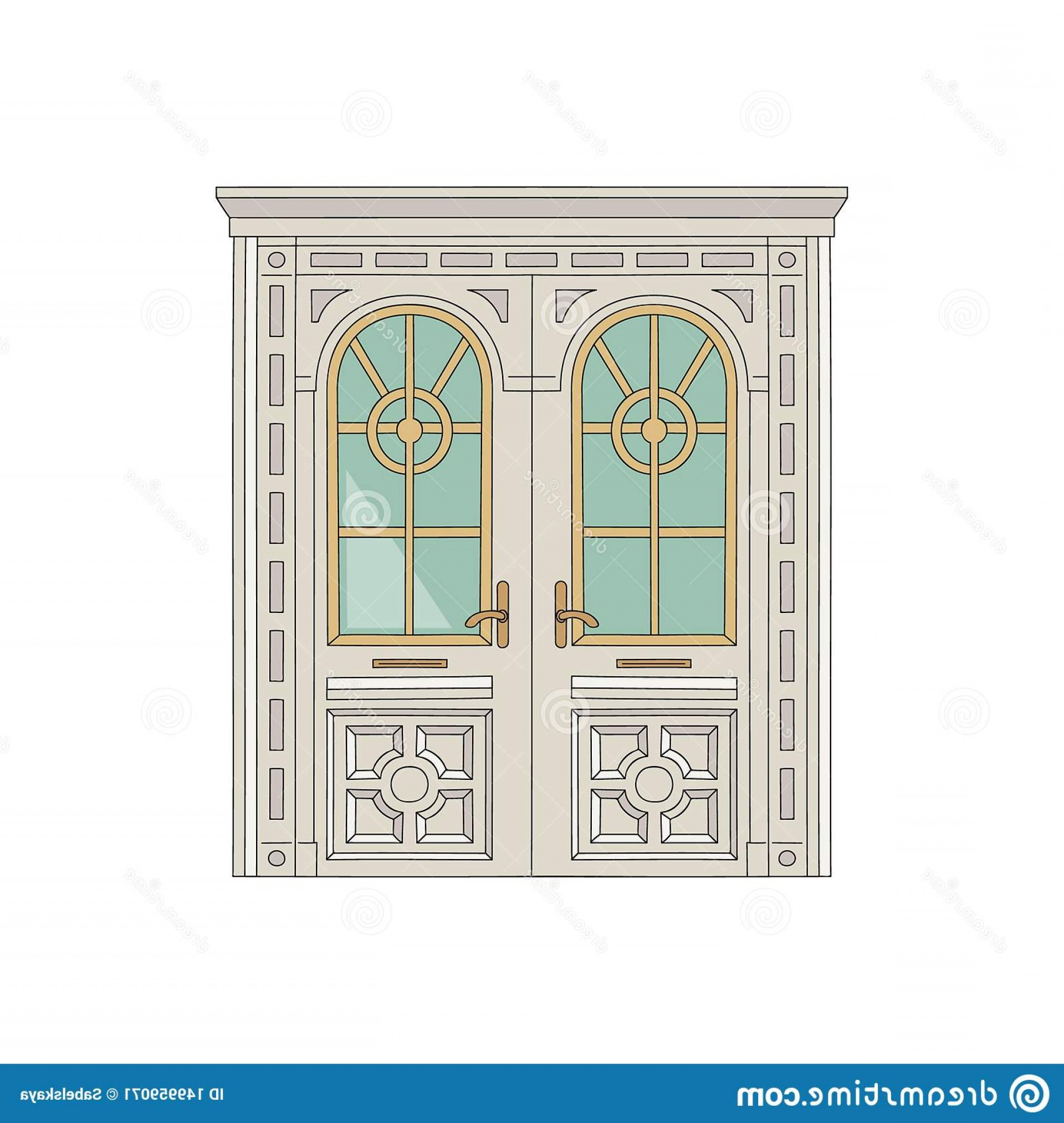 Vector Hinge Western: Antique Door Entrance To Palace Residence Sketch Vector Illustration Wooden White House Building Ornate Carvings Image