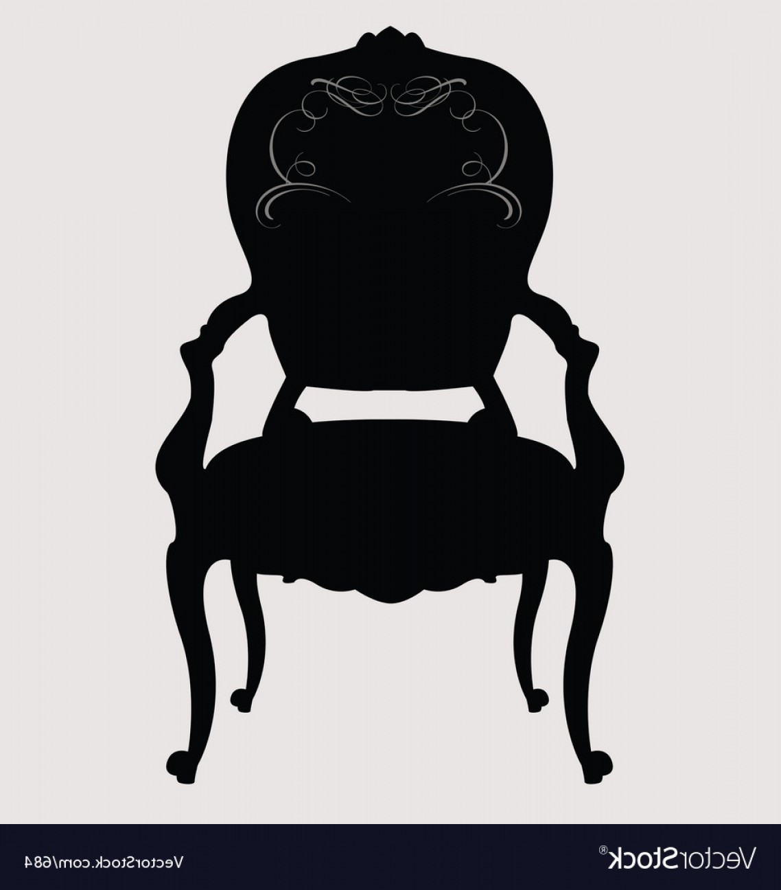Chair Silhouette Vector: Antique Louis Style Chair Vector