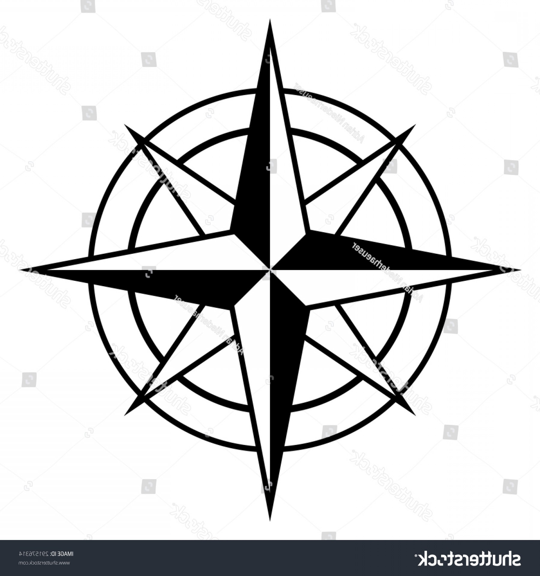 Simple Compass Vector Black And White: Antique Style Compass Rose Icon Black