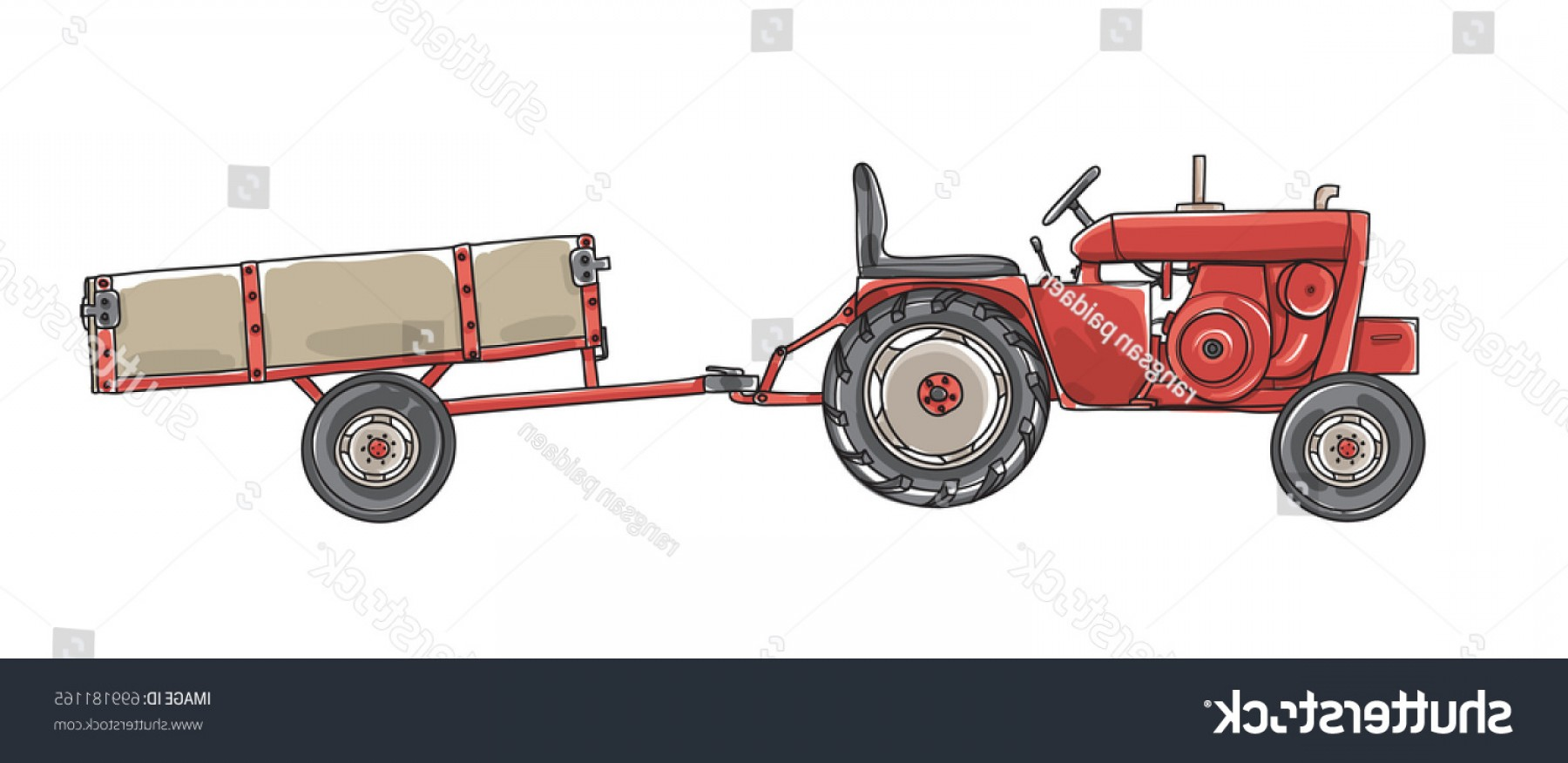 Vintage Tractor Vector Art: Antique Tractors Tipping Trailer Vintage Hand
