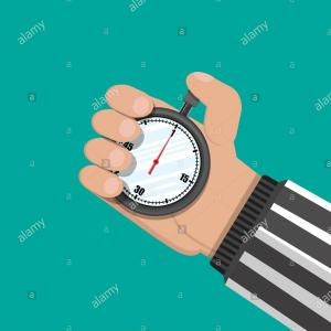 Hand Stopwatch Vector: Analog Chronometer Timer Counter In Hand Of Referee Stopwatch Vector Illustration In Flat Style Image