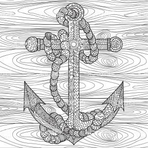 Design Vector Image Of Rope: Anchor And Rope In For Antistress Coloring Gm