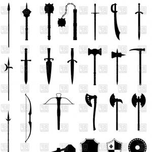 Vector Ancient Battle: Stock Illustration Ancient Battle Weapons Set Icons Stock Vector Illustration Isolated White Background Image