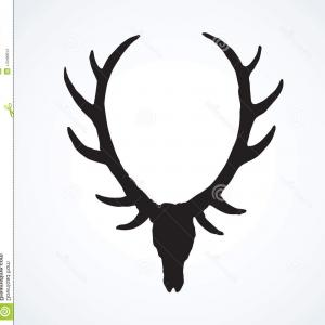 Vector Buck Print: Ancient Big Roe Ox Muzzle Light Backdrop Dark Black Ink Hand Drawn Decor Logotype Antique Art Contour Engraving Print Style Image