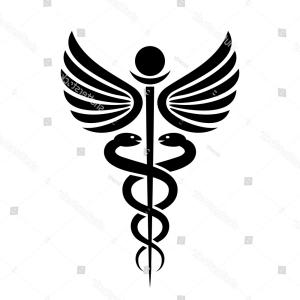 Vector Snake Doctor: Ancient Medical Symbol Caduceus Vector Illustration