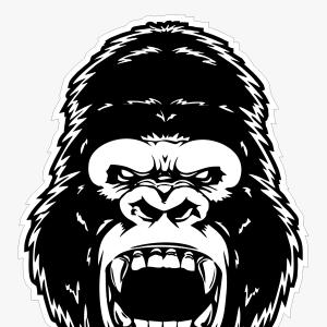 Angry Gorilla Vector: Angry Gorilla Monochrome Style Beret Vector