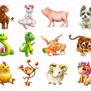 Animal Icons Vector: Animal In The Chinese Zodiac Vector