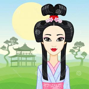 Geisha Vector Silhouette Face: Animation Portrait Young Japanese Girl Ancient Hairstyle Geisha Maiko Princess Animation Portrait Young Japanese Image