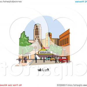 Michigan Vector Artwork: Ann Arbor Michigan Street Scene
