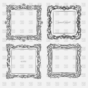 Antique Frames Vector: Antique Square Decorative Vintage Frame Vector Clipart
