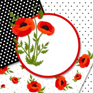 Poppy Flower Vector Illustration: Anzac Day Vector Card Red Poppy Flower Gm
