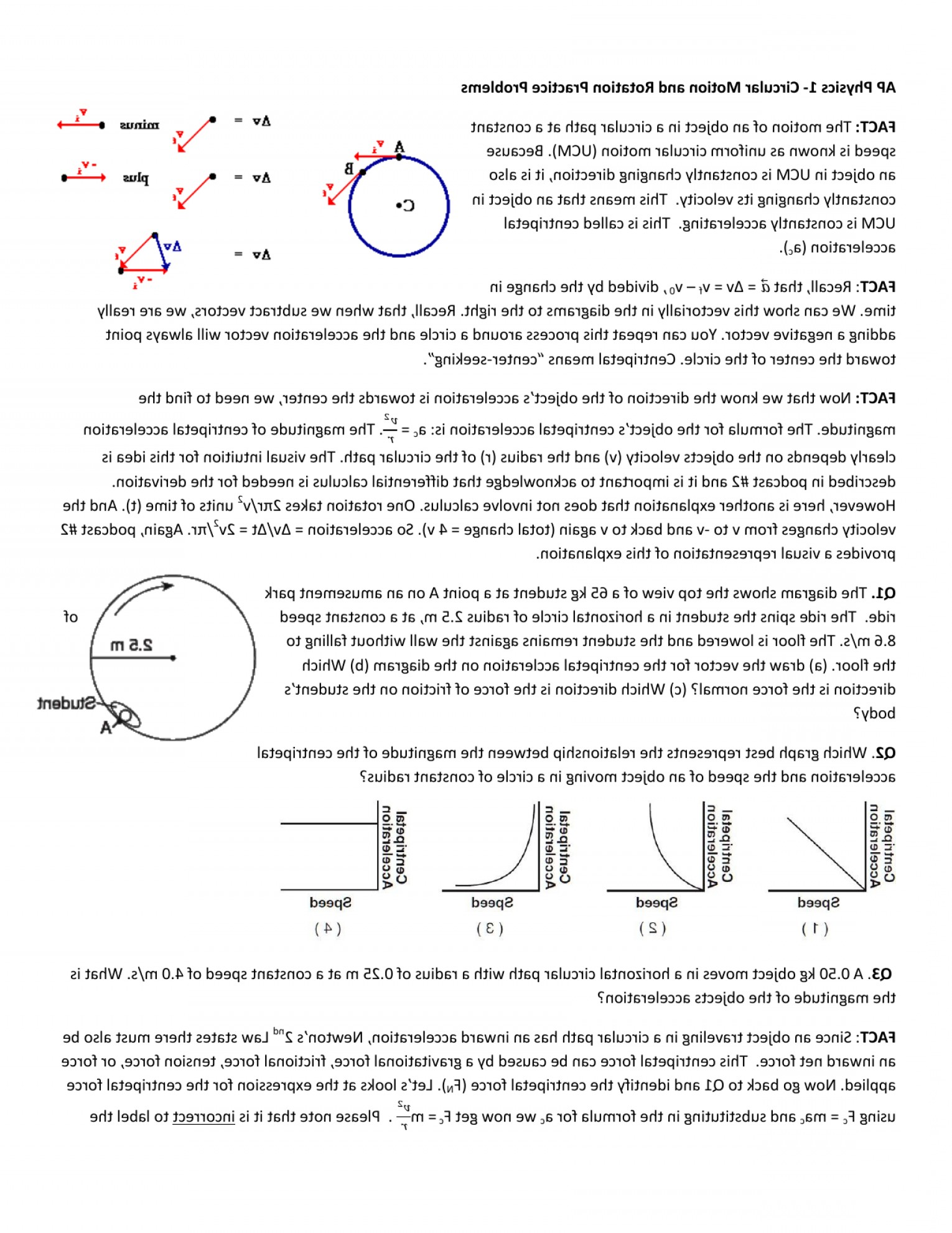 Rotational Kinematics Diagram Of Vectors: Ap Physics Circular Motion And Rotation Practice Probl