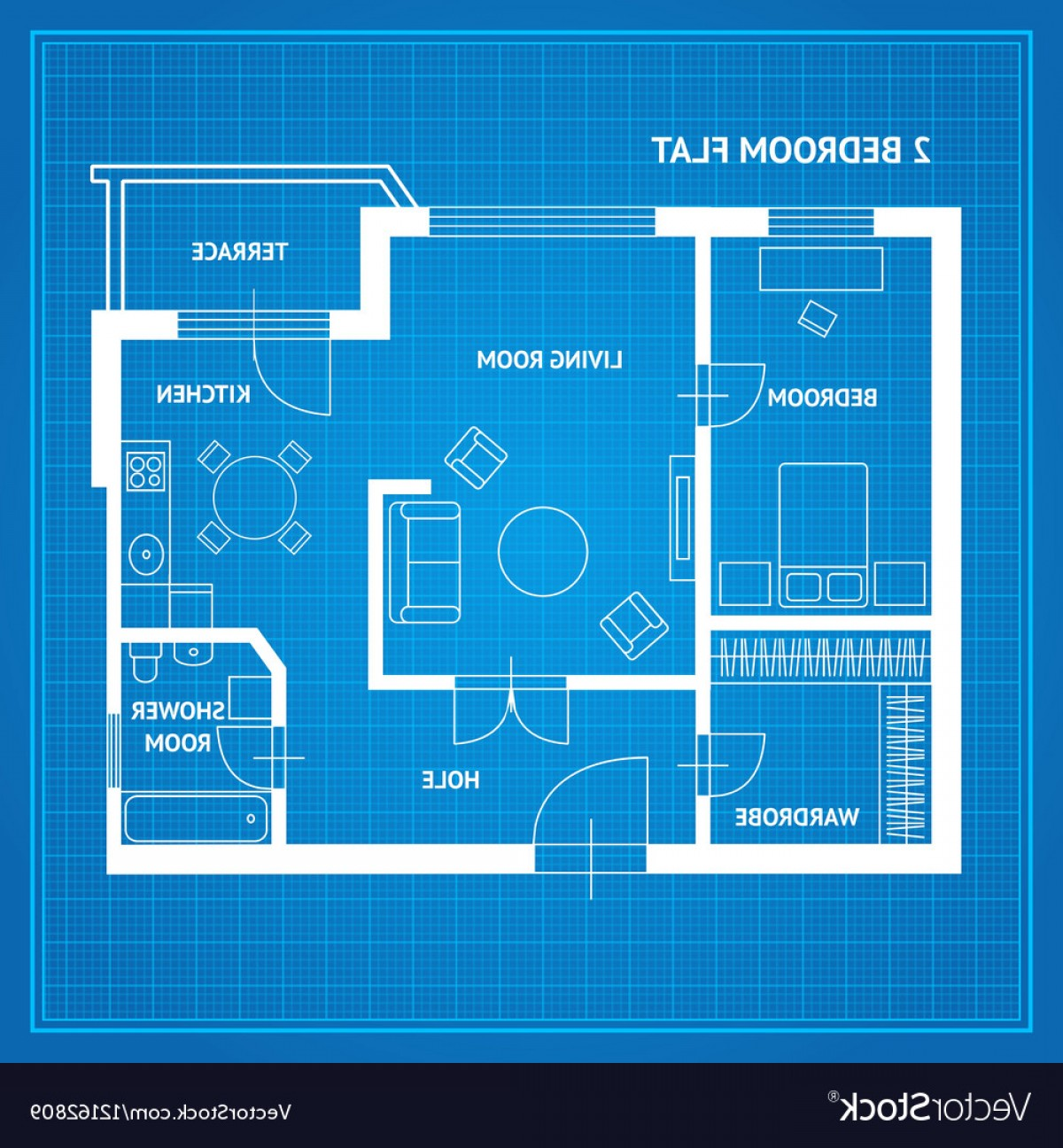 Residential Blueprint Vector Black: Apartment Floor Plan Blueprint Vector
