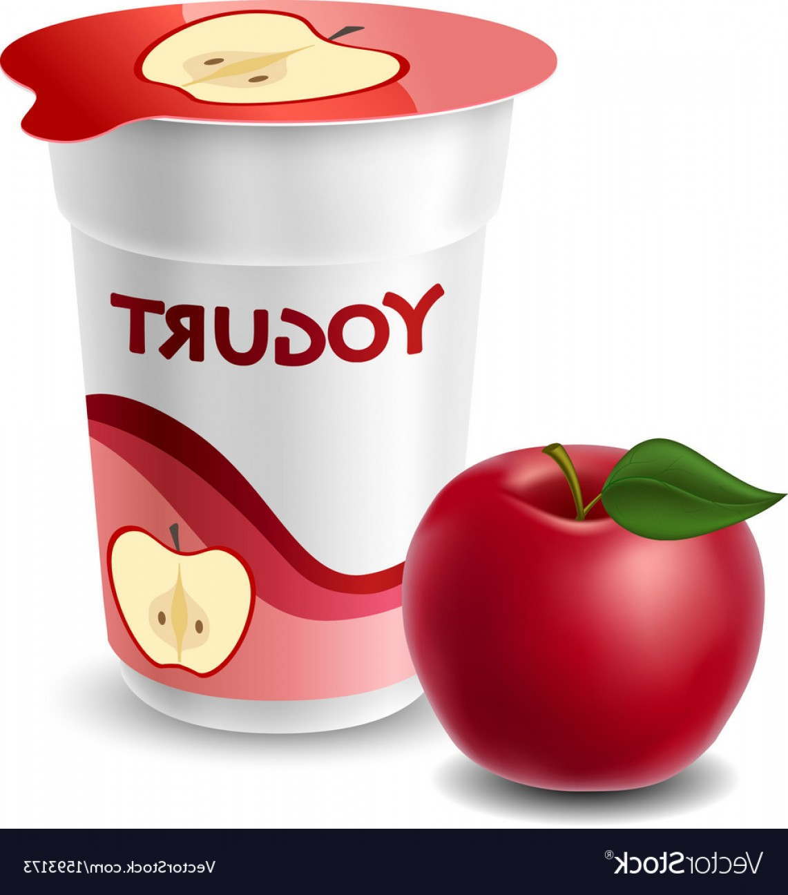 Yogurt Vector: Apple Yogurt Cup With Red Apple Vector