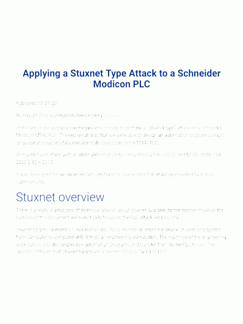 Internet Attack Vectors: Applying A Stuxnet Type Attack To A Schneider Modicon Plc Airbus Cybersecurity
