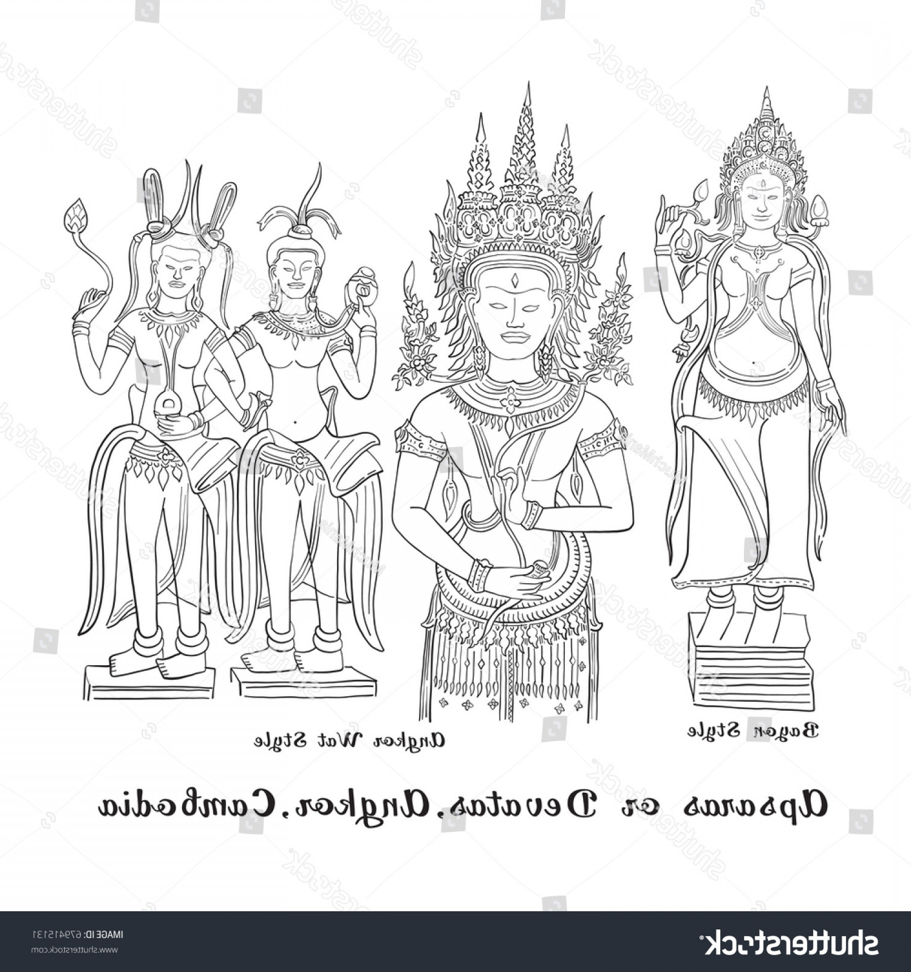 Vector Travel APS: Apsara Devata Angkor Cambodia Sketch Drawing