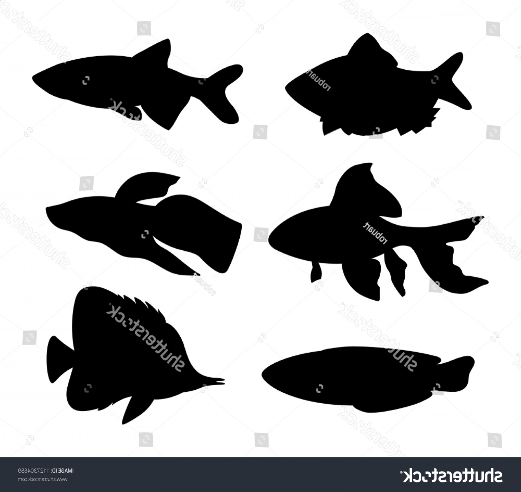 Green Tiger Vector: Aquarium Fish Silhouette Set Goldfish Green