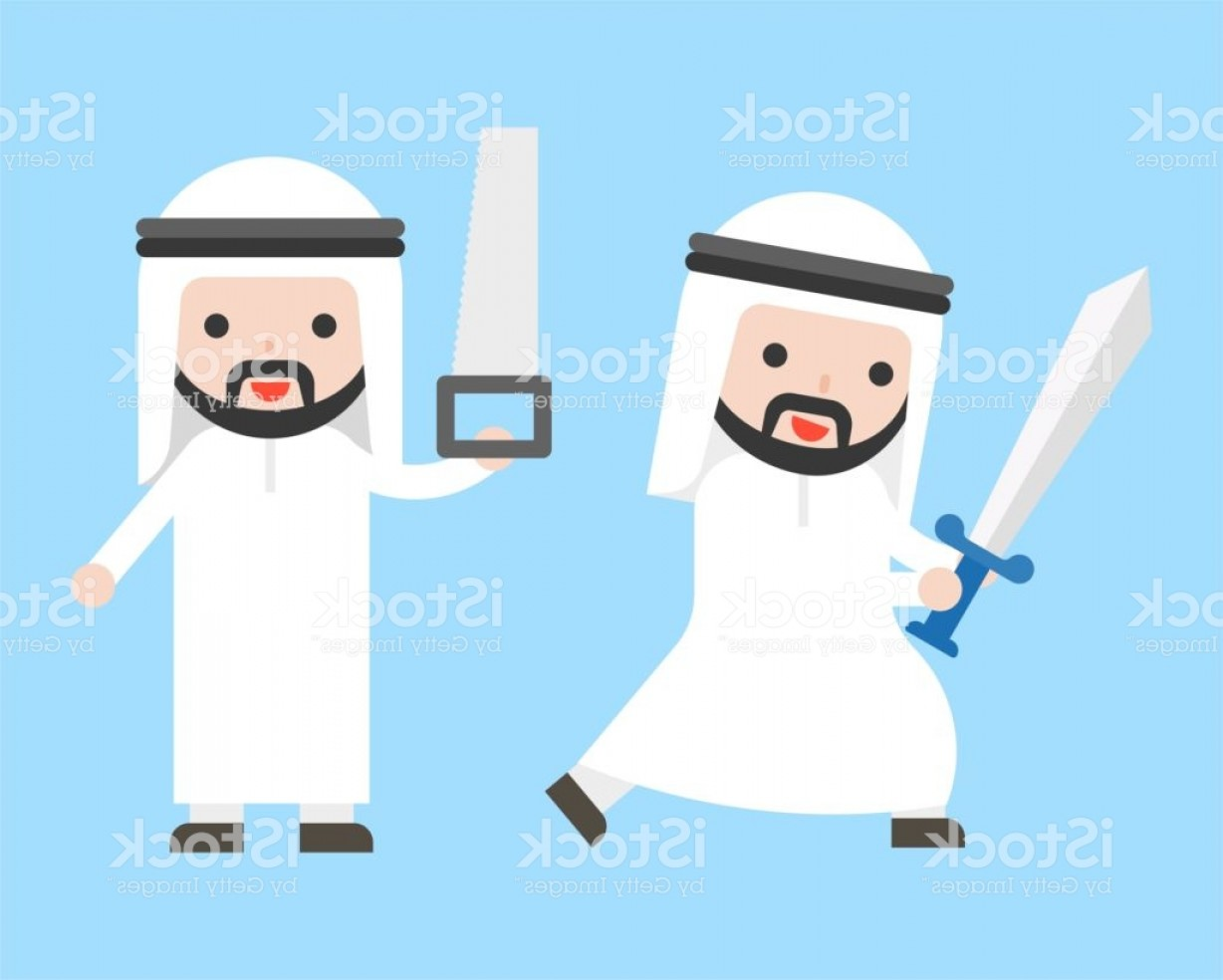 Saudi Sword Vector: Arab Businessman Or Manager Holding Sword And Saw Ready To Use Character Gm