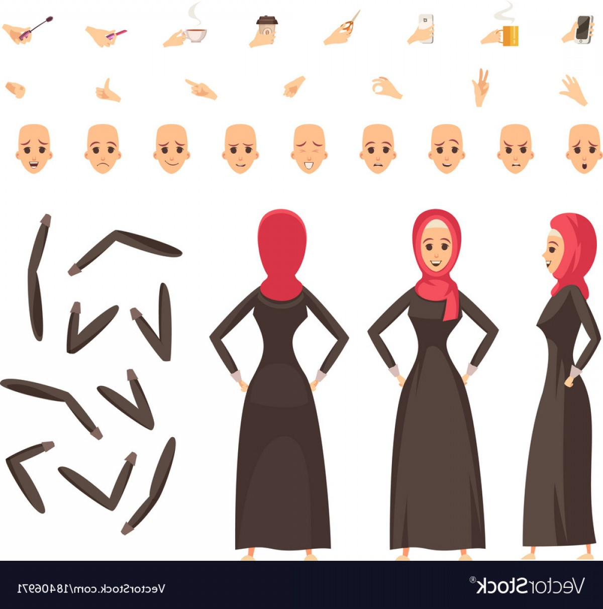 Vector Constructor: Arab Woman Constructor Set Vector