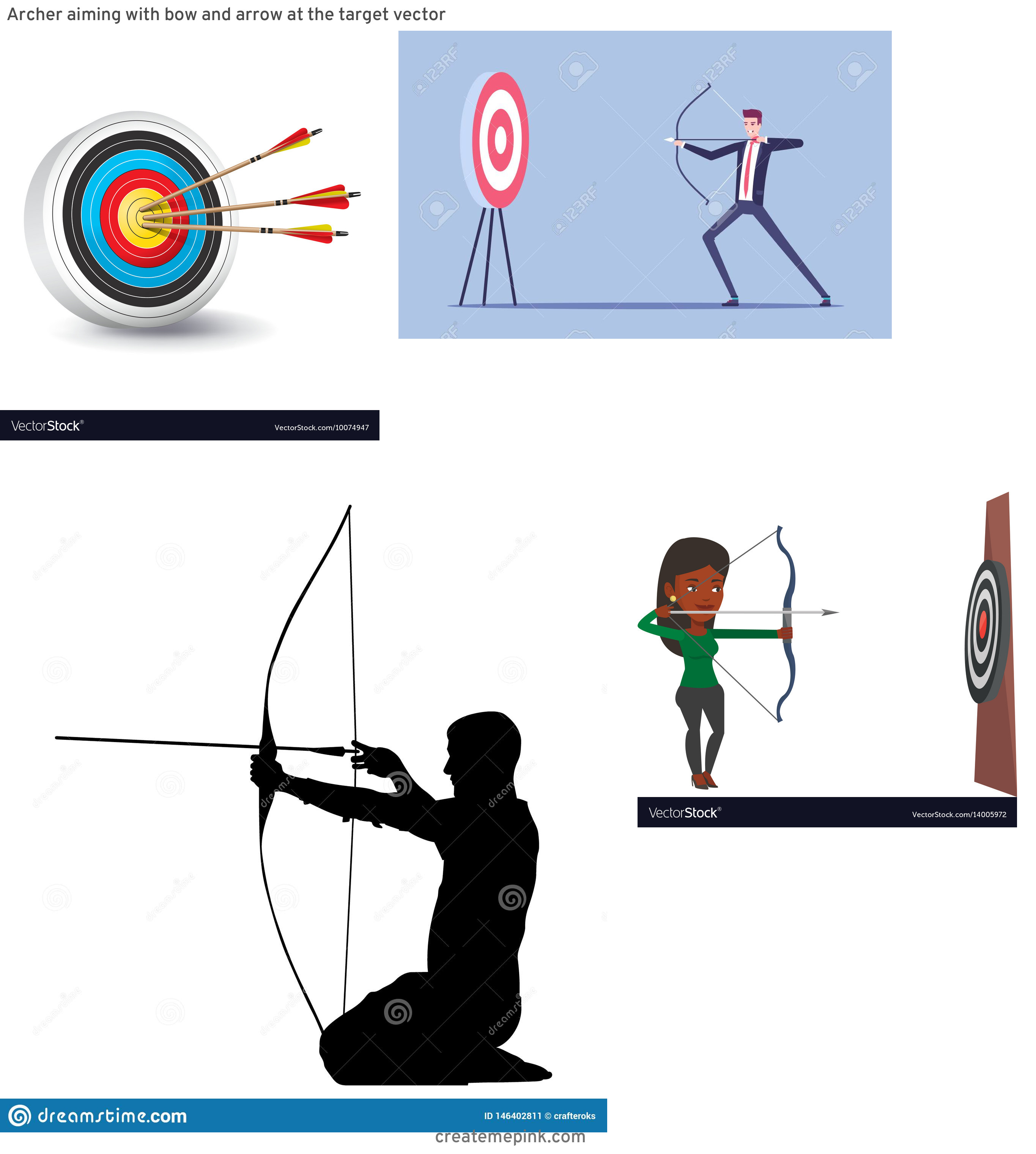 Target Bow And Arrow Vector: Archer Aiming With Bow And Arrow At The Target Vector