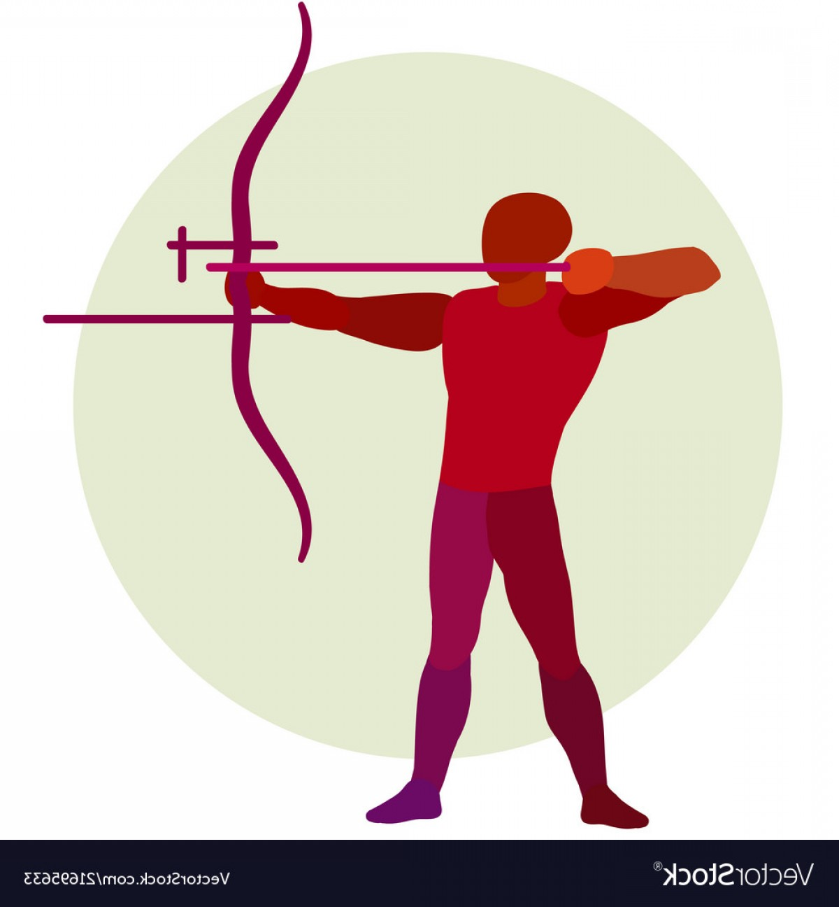 Vector Boho Arrow Strength: Archer Silhouette Of Bowman Archery Logo Vector