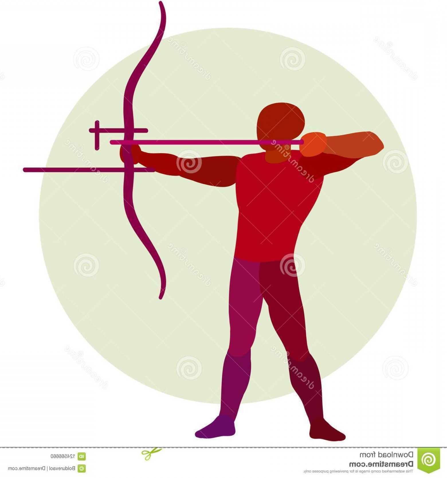 Vector Archery Silhouette: Archer Vector Silhouette Bowman Archery Logo Red Image