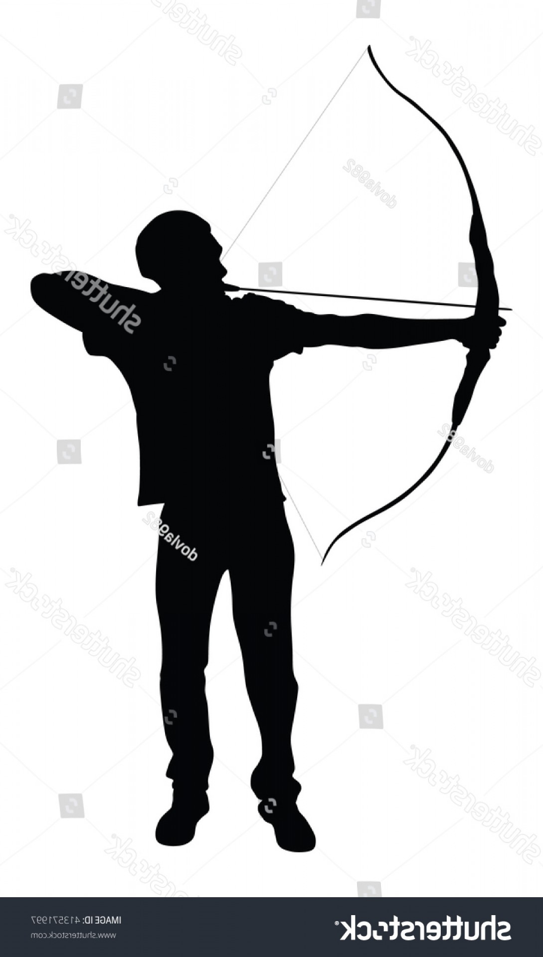 Vector Archery Silhouette: Archer Vector Silhouette Symbol Illustration Isolated