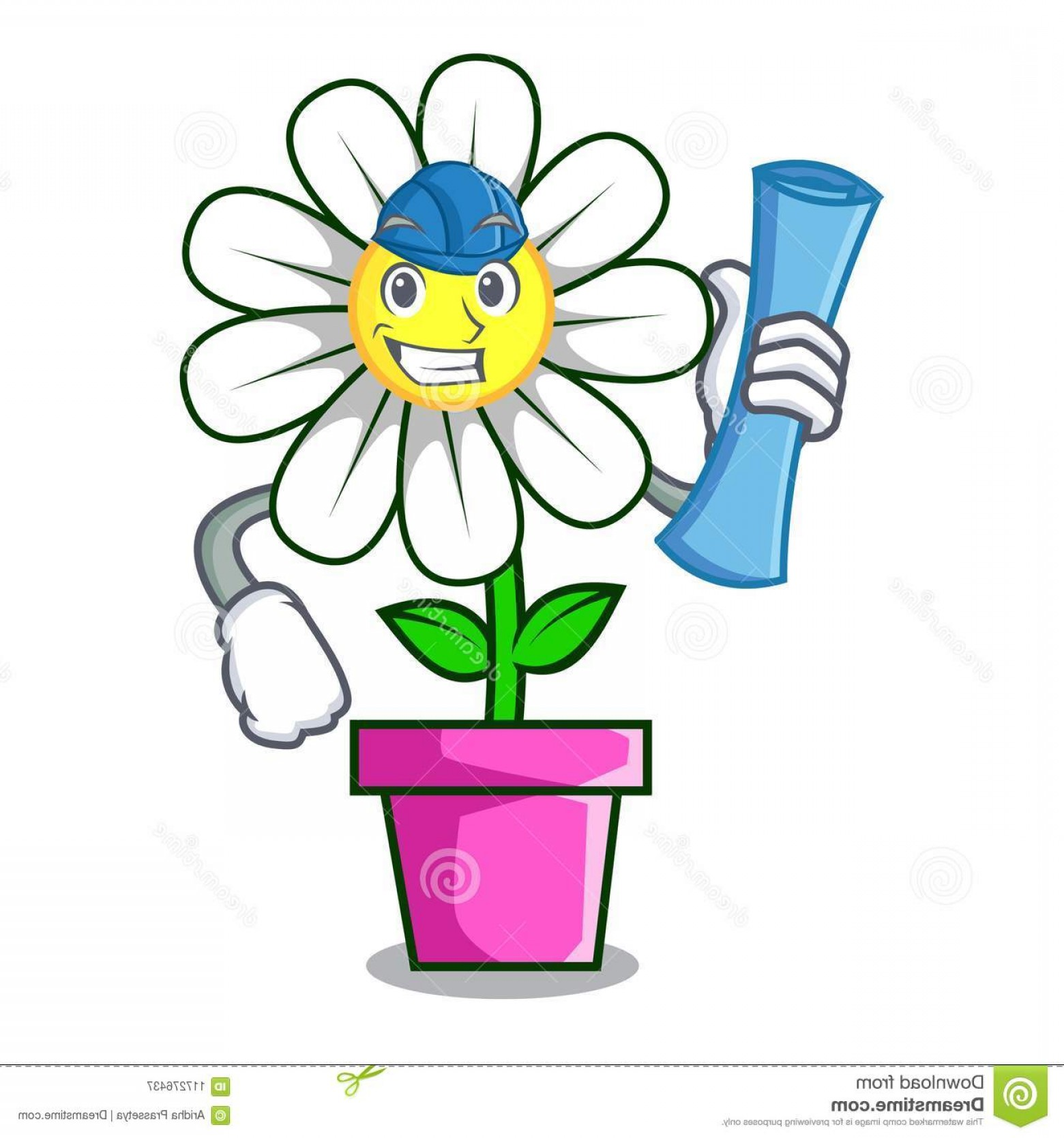 Vector Image Of A Budding Flower: Architect Daisy Flower Character Cartoon Architect Daisy Flower Character Cartoon Vector Illustration Image