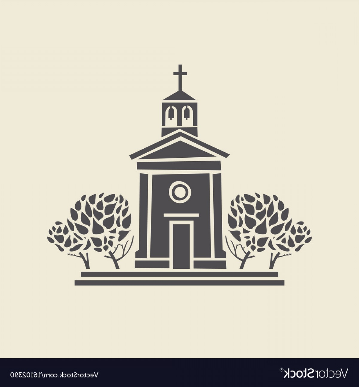 Faith Lions Vector Art Images: Architectural Icon Of The Bell Tower With Trees Vector
