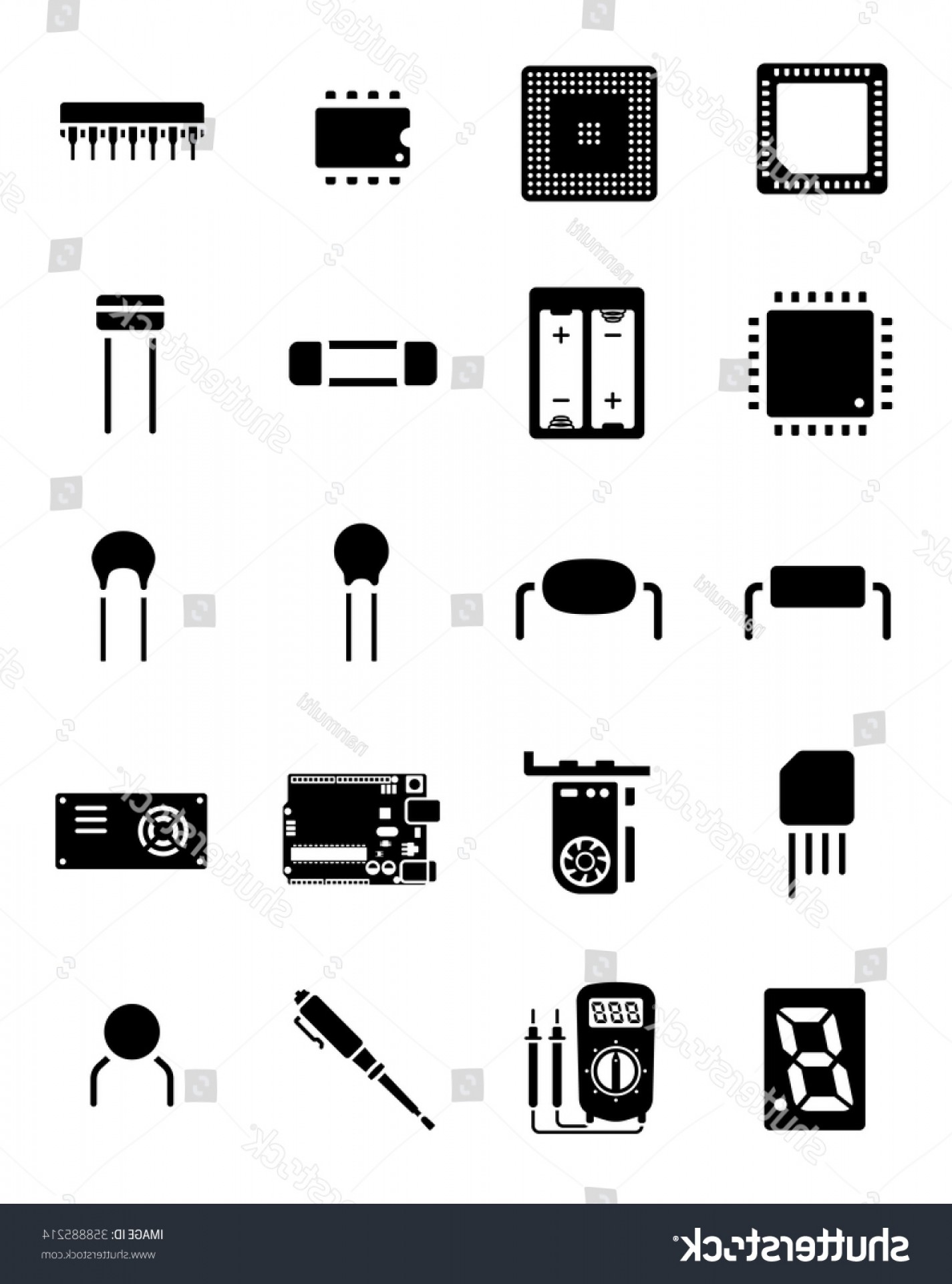 Arduino Vector Png: Arduino Chip Electronics Component Icon Set