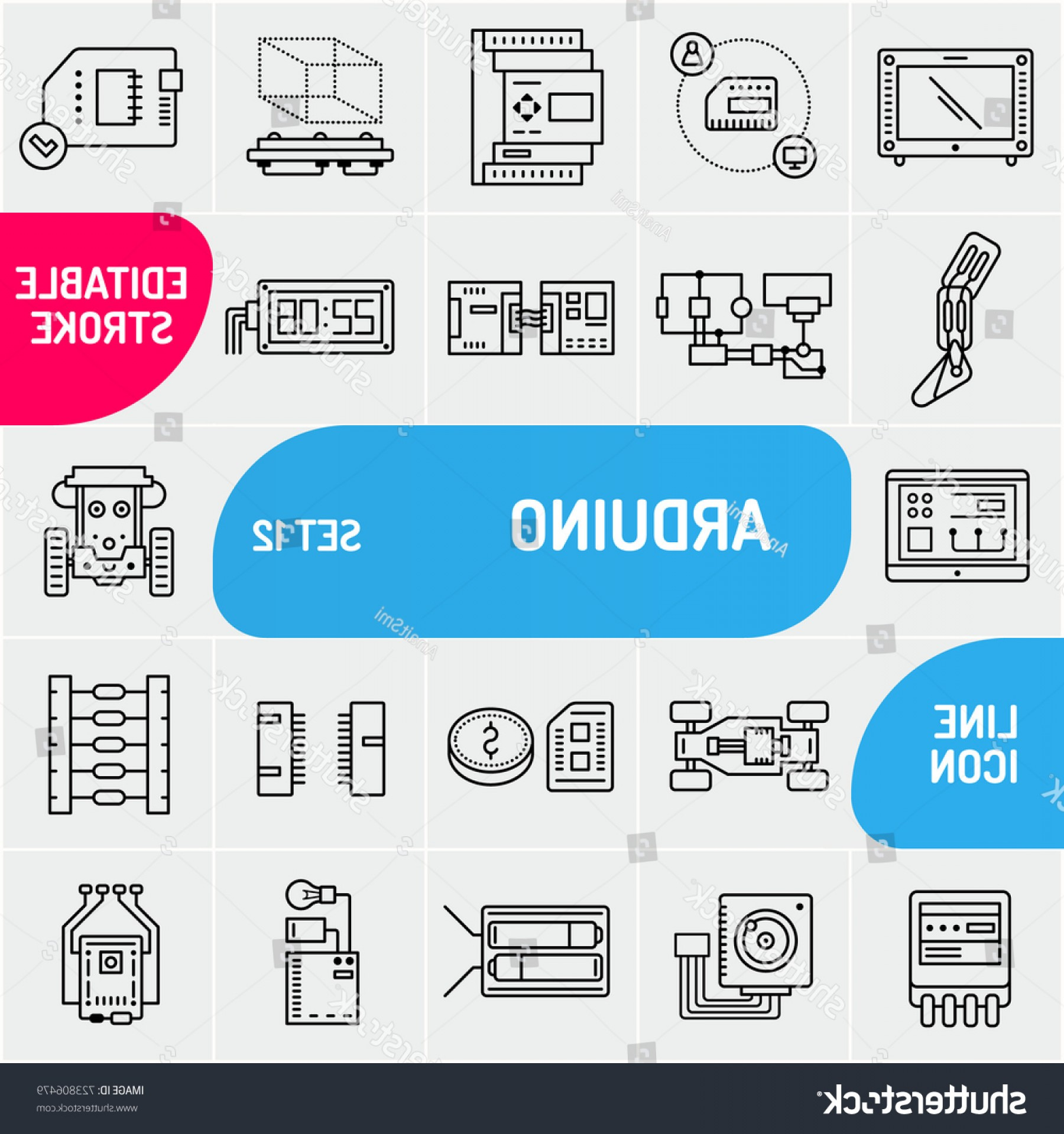 Arduino Vector Png: Arduino Line Icons Electronics Components Icon