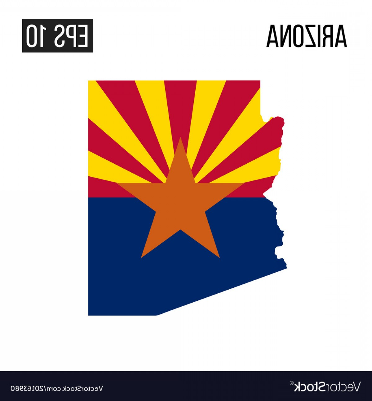 Arizona Flag Vector: Arizona Map Border With Flag Eps Vector