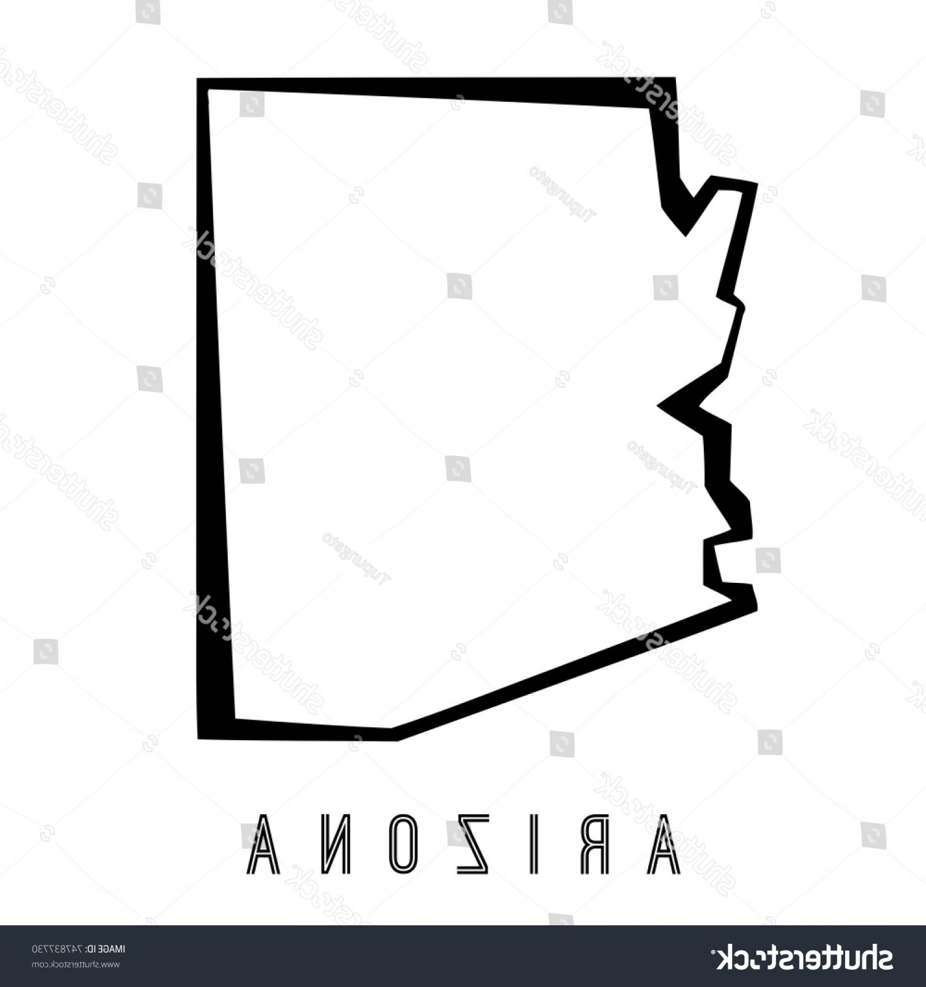 Arizona State Outline Vector: Arizona Map Outline Us State Shape