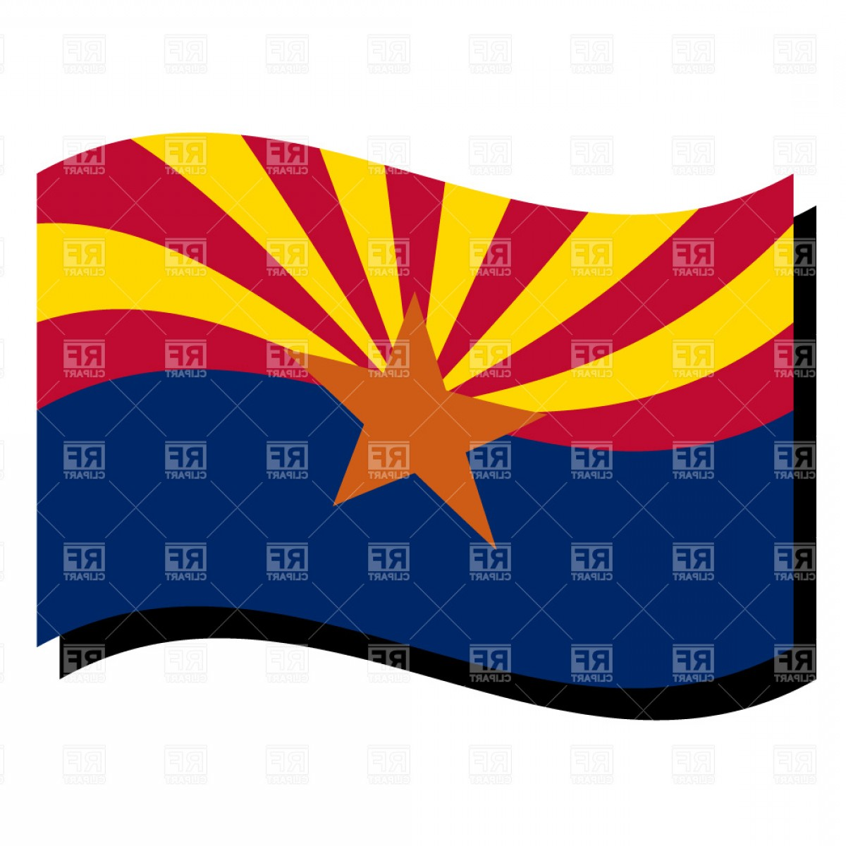 Arizona State Outline Vector: Arizona State Flag Vector Clipart
