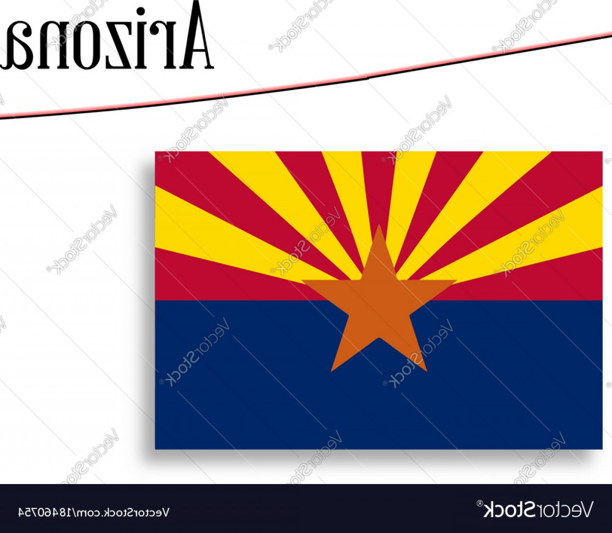 Arizona Flag Vector: Arizona State Map And Flag Vector