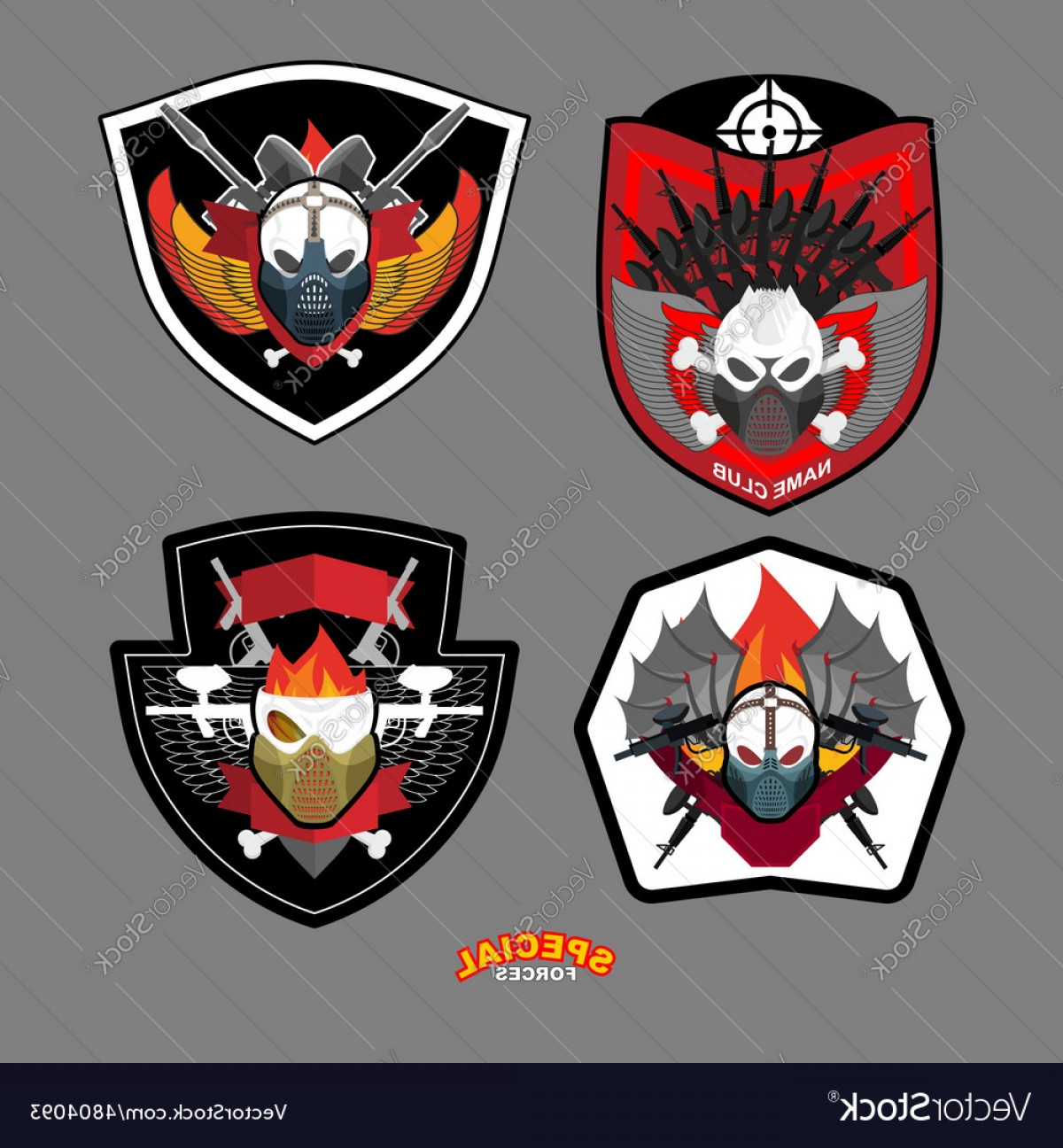 Us Special Forces Vector Files: Army Emblem Set Special Forces Patch With Skull Vector