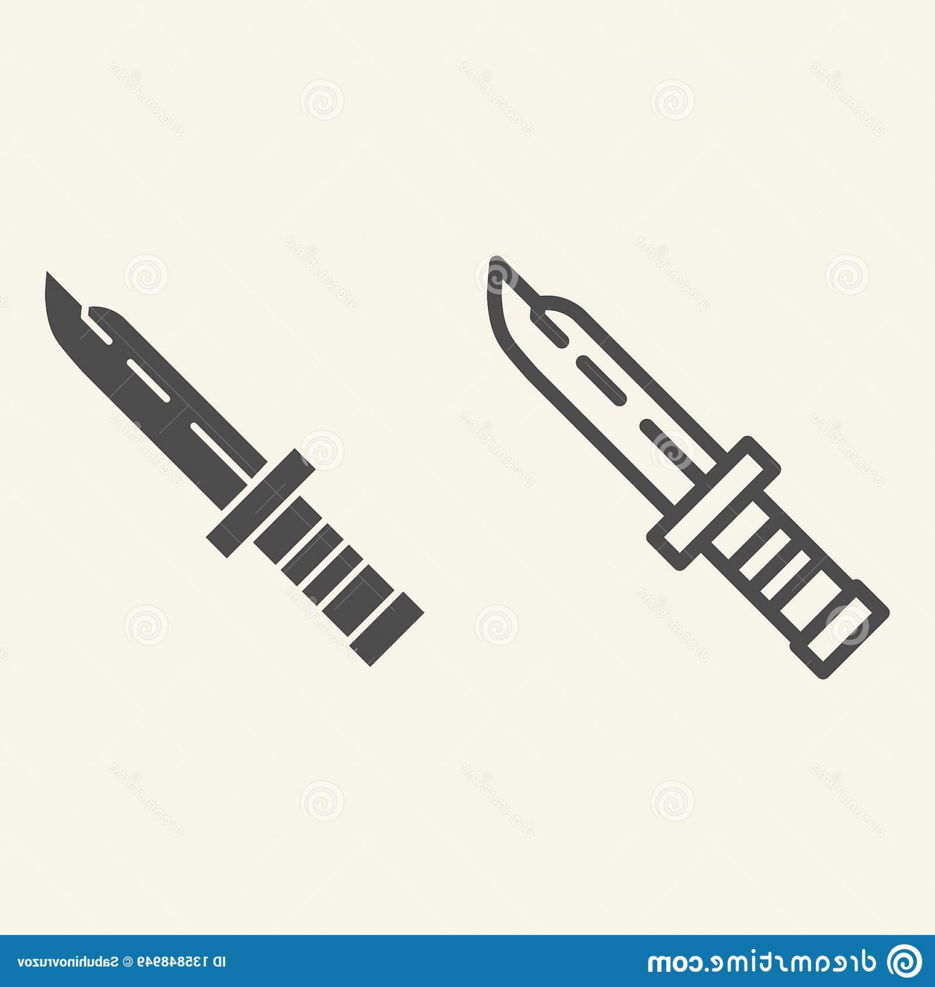 Vector Army Knife: Army Knife Line Glyph Icon Military Knife Vector Illustration Isolated White Dagger Outline Style Design Army Knife Line Image