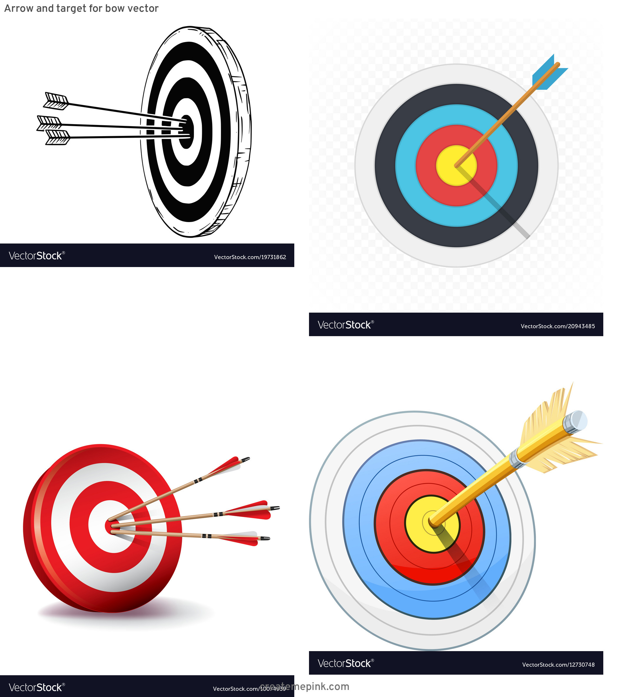 Target Bow And Arrow Vector: Arrow And Target For Bow Vector