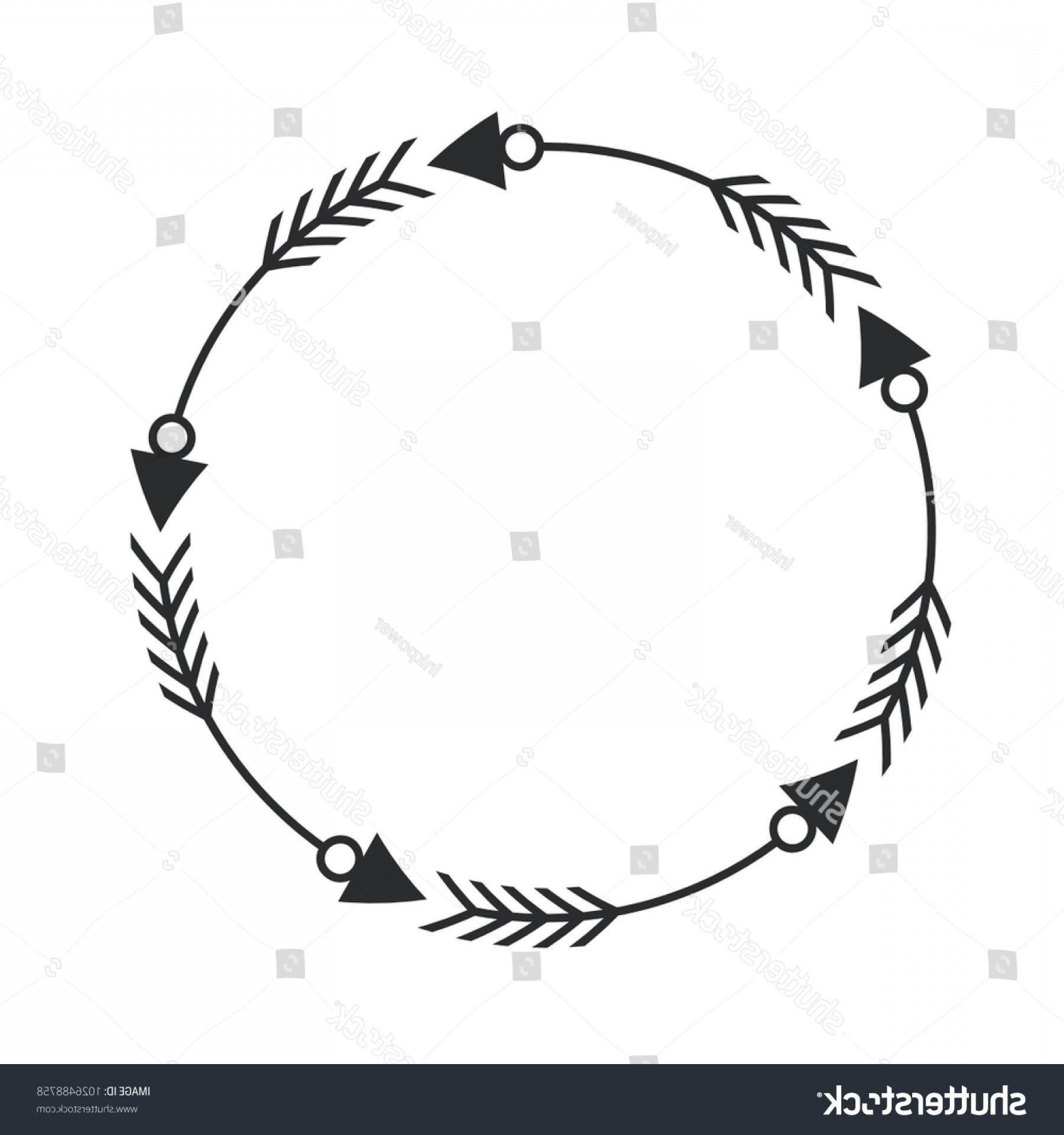 Vector Boho Arrow Strength: Arrow Circle Frame Graphic Vetor Design