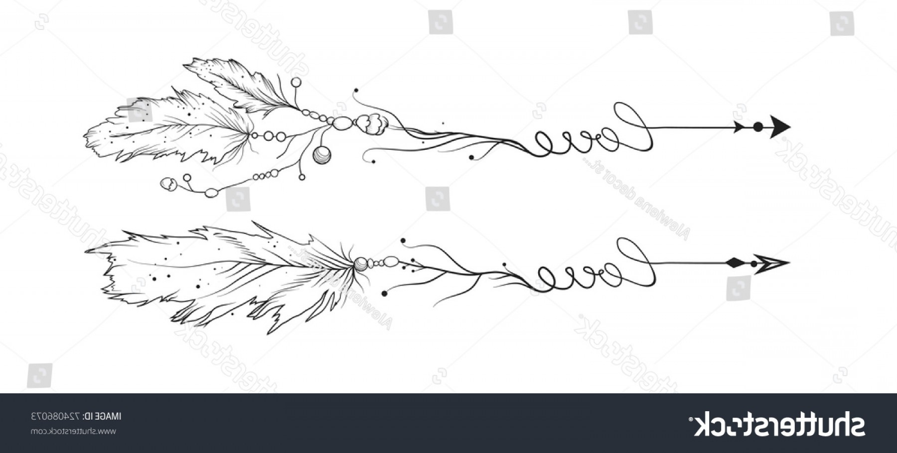 Love With Arrows Vector: Arrow Hand Drawn Set Vector Love