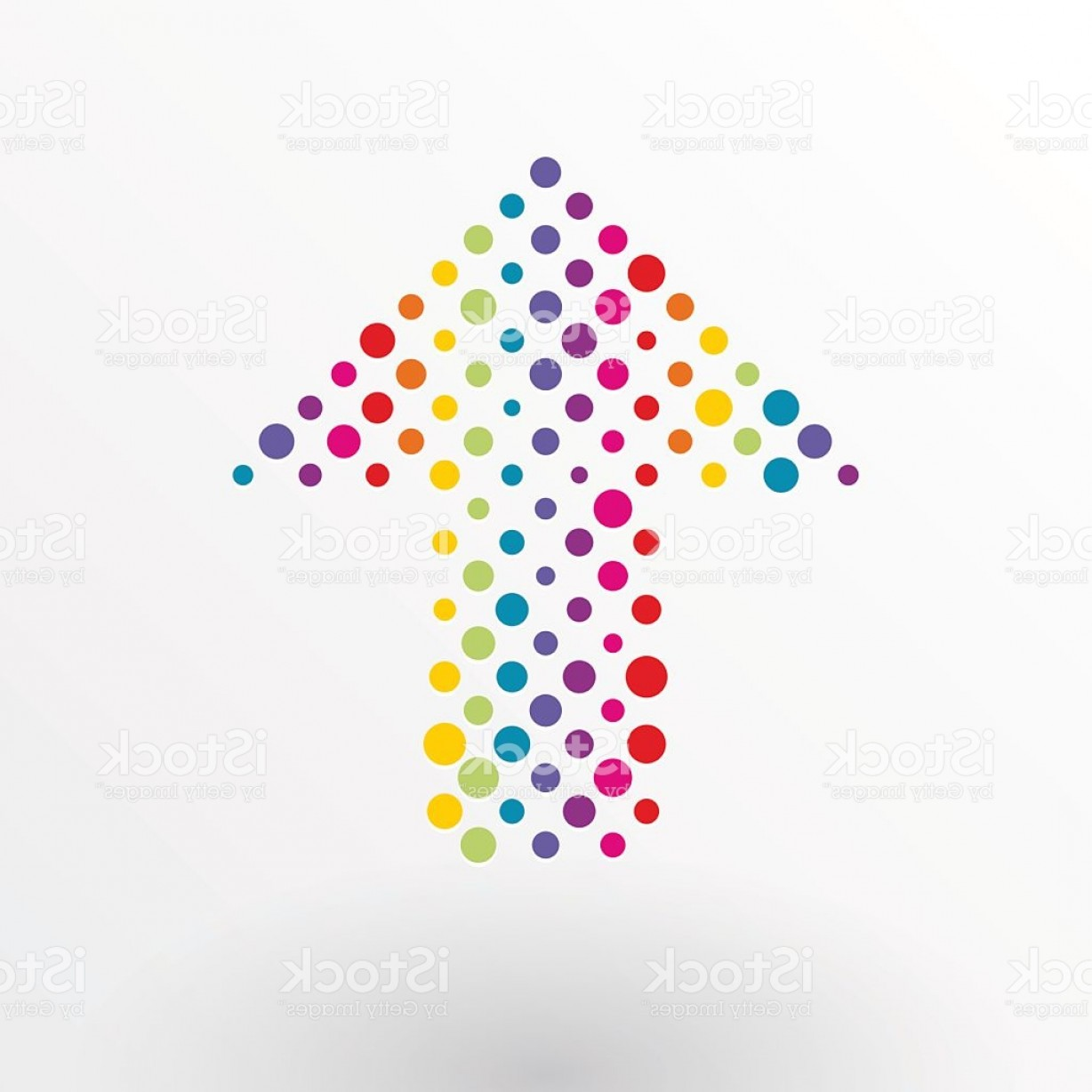 Small Arrow Vector: Arrow Made Up Of Small Colorful Polka Dots Gm