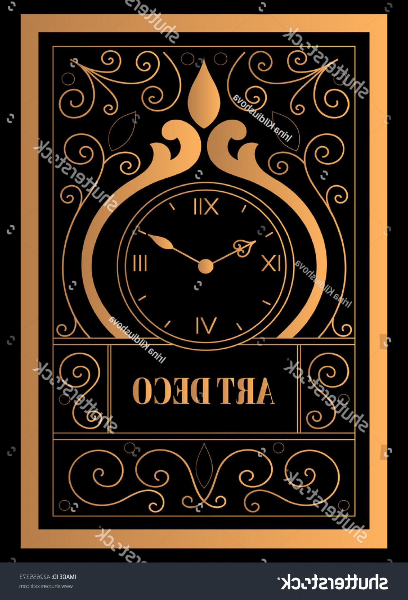 Art Deco Vector Small Posters: Art Deco Clock Vector Vintage Label