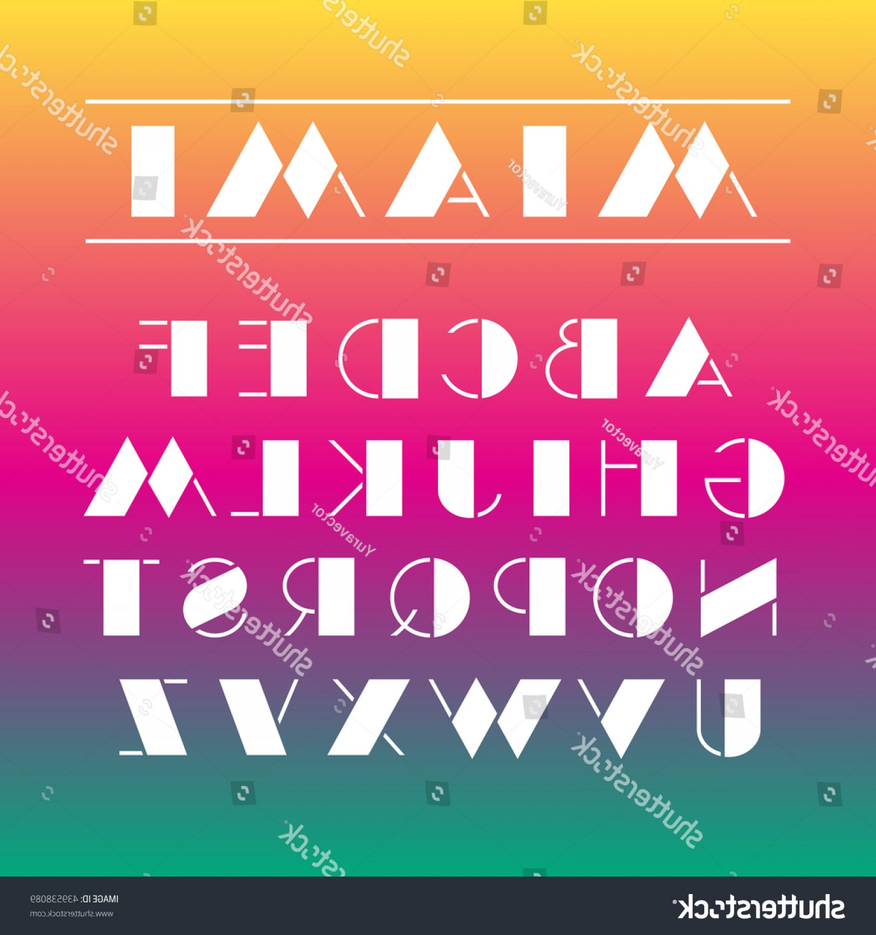 Art Deco Vector Small Posters: Art Deco Font Retro Geometric Design