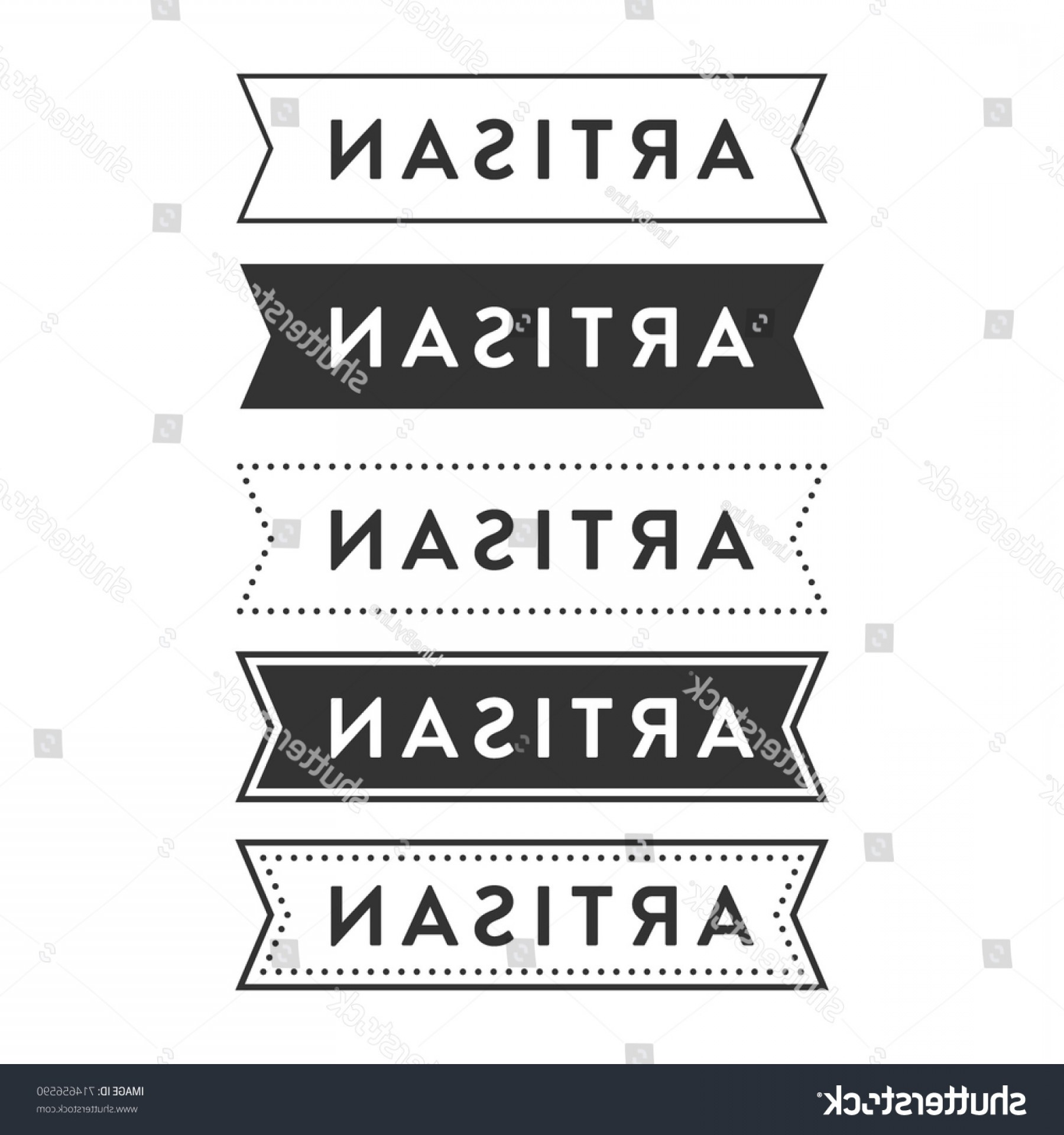 Hipster Vector Ribbon: Artisan Hipster Ribbon Banner Vector Background