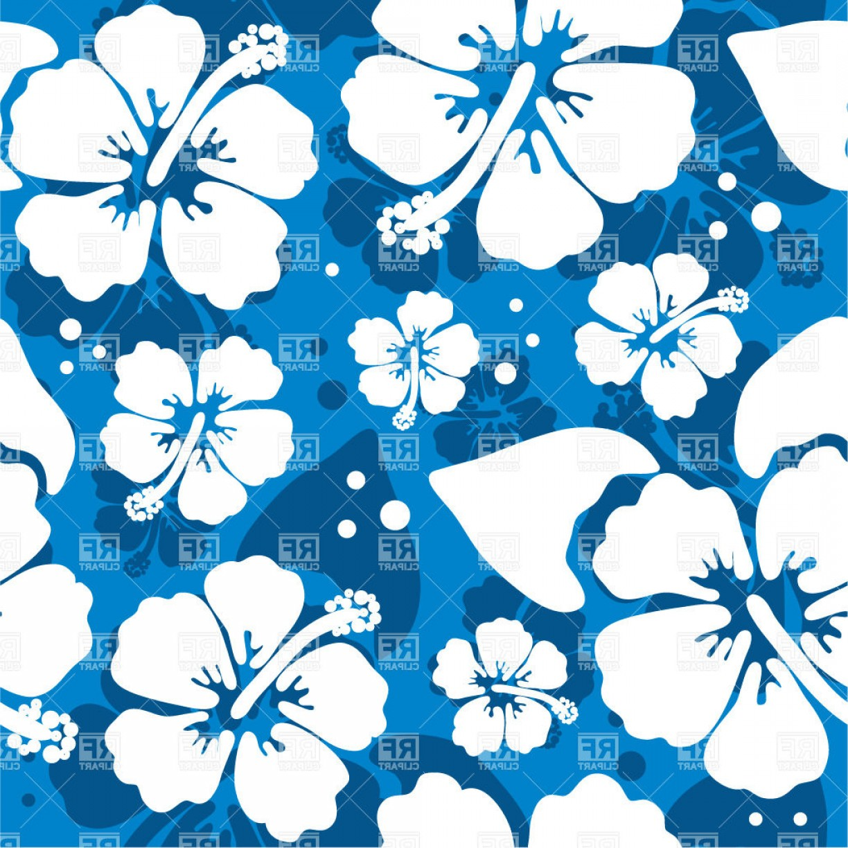 Hawaiian Flower Seamless Vector Pattern: Artistic Seamless Blue Pattern With Hawaiian Hibiscus Flower Vector Clipart