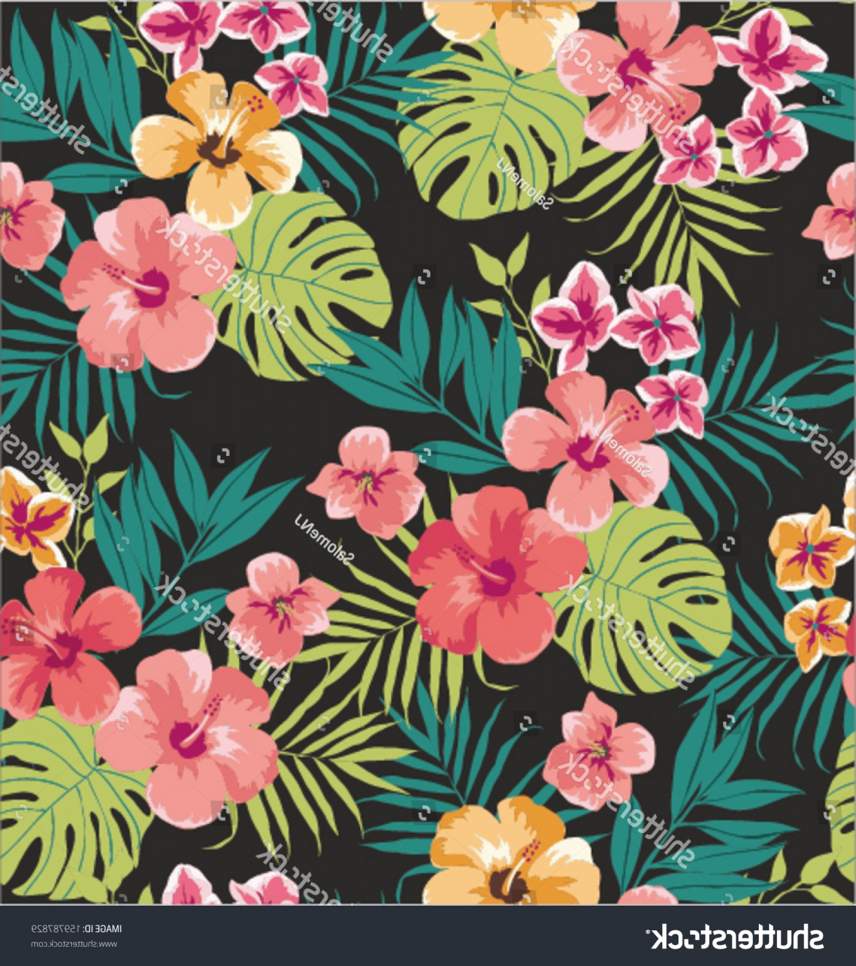 Hawaiian Flower Seamless Vector Pattern: Artistic Seamless Tropical Flower Vector Pattern Background