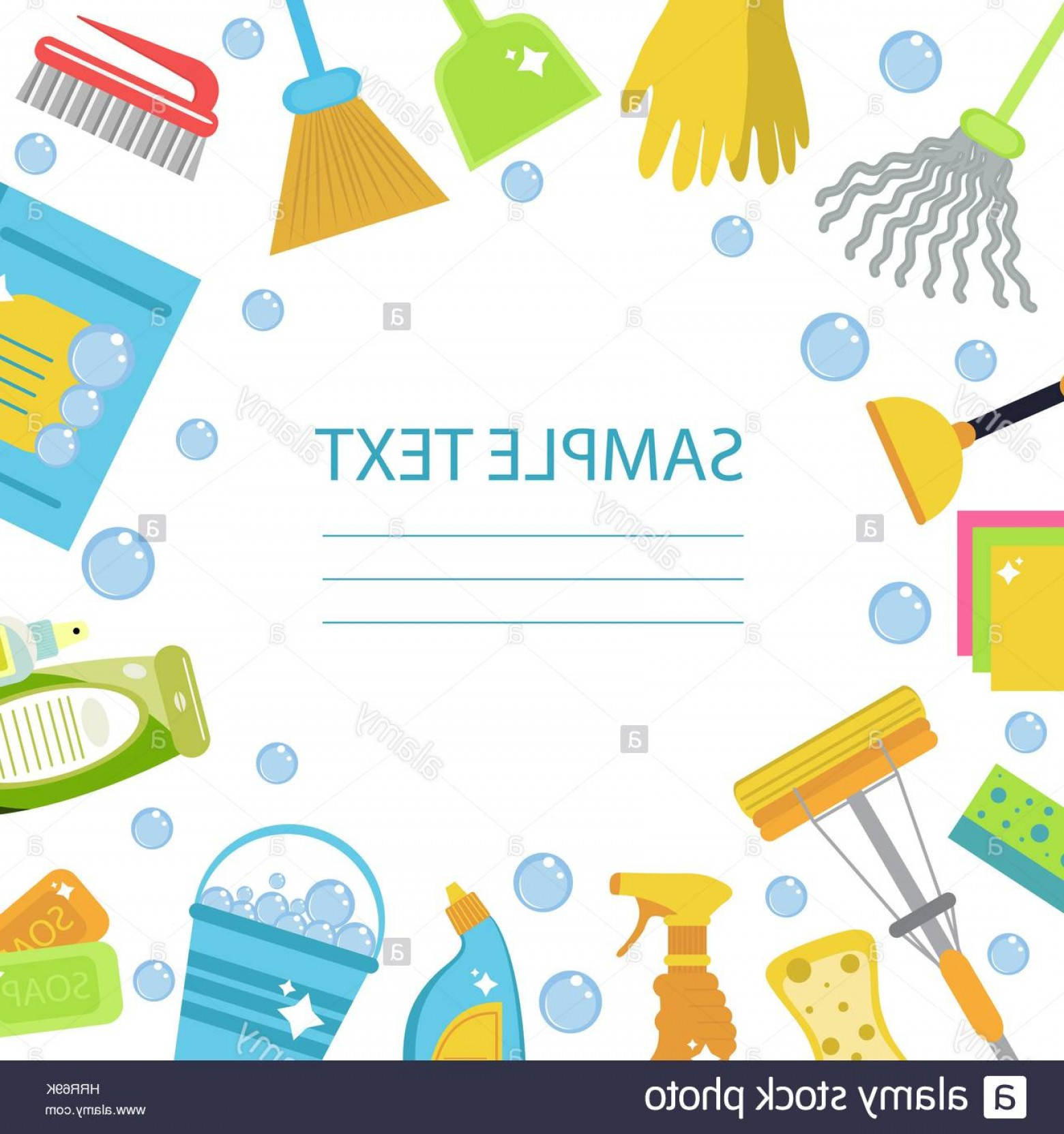 Tools For Text Vector: Artistic Stock Photo Set Of Icons For Cleaning Tools Cleaning Template For Text Background