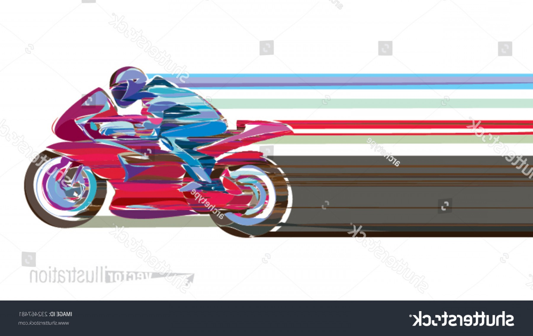 Stylized Vector Motorcycle: Artistic Stylized Motorcycle Racer Motion Vector