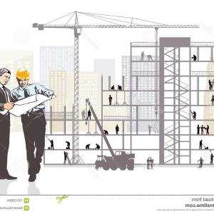 Vector Diagram In Construction Monitoring: Architect Client Monitoring Construction Artistic Illustration Work Site Large Steel Glass Concrete Building Image